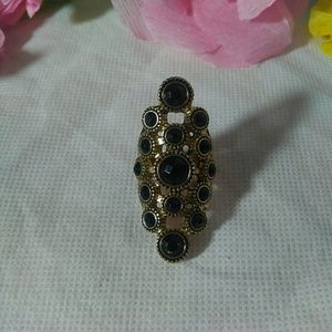 Black and gold retro statement ring